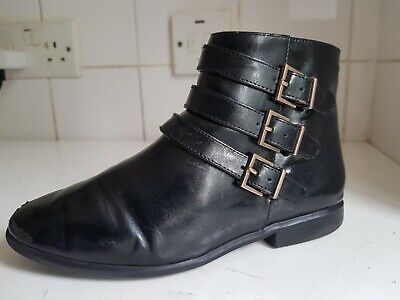 Zara Size Uk 2 Eu 34 Kids Black Patent Faux Leather Girls School Shoes Boots