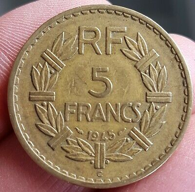 FRANCE - FRANCIA - FRENCH COIN - MONNAIE 5 FRANCS LAVRILLIER 1945/C - REF:i9.