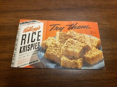 Rice Krispies Treat Recipe Card 1940s Vintage Kelloggs from Cereal Box? Rare