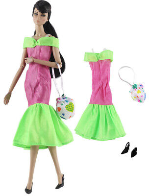 3in1 Fashion Clothes/Outfit/Dress+bag+shoes For 11.5 in. Doll c25