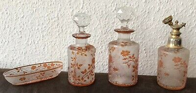 Beautiful Baccarat Crystal Vanity Set, 4 Pcs.,Rare Orange Cameo Glass, est. 1900