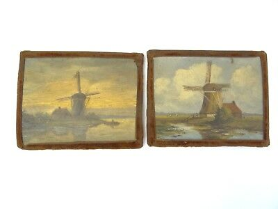 Two Antique Windmill Dutch Oil Paintings Pair Small on Board Art Signed