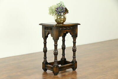 Oak English Tudor 1910 Antique Chairside Table, Stand or Pedestal #31306