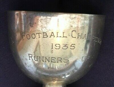 1935 vintage silver plate football trophy, loving cup, trophies, trophy