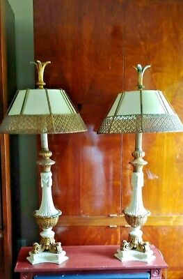 PAIR of MATCHING American Mid-Century Hollywood Regency French-style TABLE LAMPS