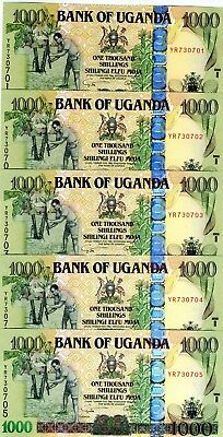 LOT Uganda, 5 x 1000 (1,000) Shillings, 2009, Pick 43 (43b), UNC > Wide OVD