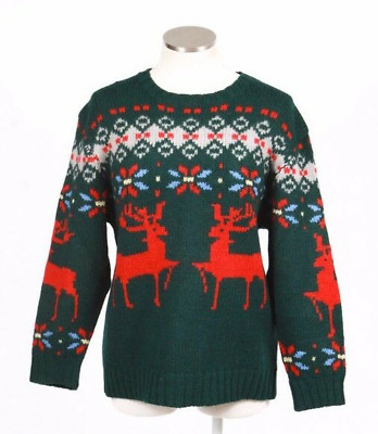 Vintage 90s Christmas Wool Knit Sweater Red & Green Reindeer Womens Size Large