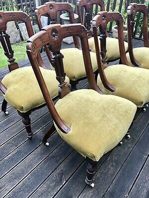 Set Of Six Victorian Solid Carved Walnut Dining Chairs - Newly Reupholstered