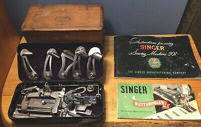 Lot Vtg Greist Sewing Attachments Metal Box  Singer Wood Puzzle Box And Manuals!