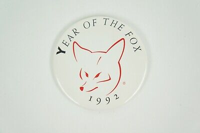 Vintage 1992 Year of the Fox Pin Button PinBack Chinese Horoscope Birth Year