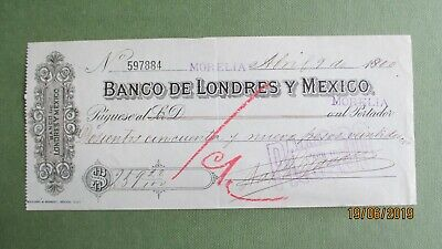 Banco De Londres Y Mexico Old Cheque 1900 Fiscal Stamps