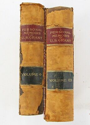 """""""Personal Memoirs of US Grant"""" Volumes I & II 1885 1886 Leather Bound Hardcover"""