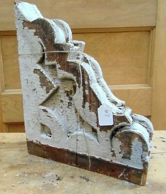 Antique Wooden Corbel Victorian White Distressed Paint-#7