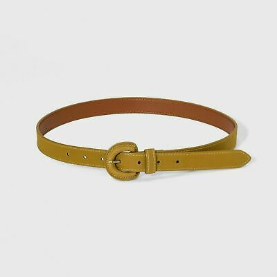 Women's Citron Sueded Cov Buckle Belt - A New Day Mustard XL