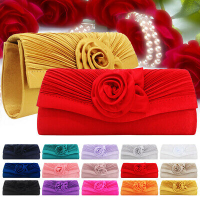 Stain Women Florals Bag Clutches Prom Wedding Bridal Evening Party Purse Handbag
