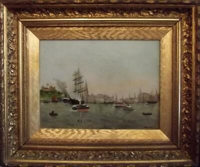 Antique Signed BRITISH PRIMITIVE Seascape Oil Painting SHIPPING AT PORT 1903
