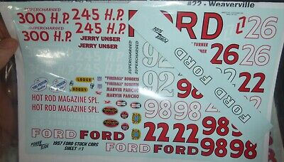 #98 Marvin Panch 1957 FORD 1//64th HO Scale Slot Car Waterslide Decals