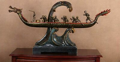 "45""H Blue Bronze Dragon Ship Statue Handcrafted"
