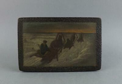 Antique Russian Imperial Large Lacquered Hand Painted Box By Lukutin