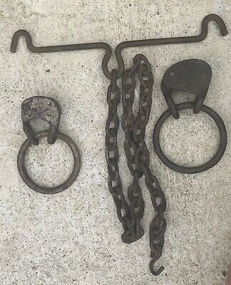 Antique Large Wrought  Iron Chain & Rings Primitive Barn Find Early Hand Forged