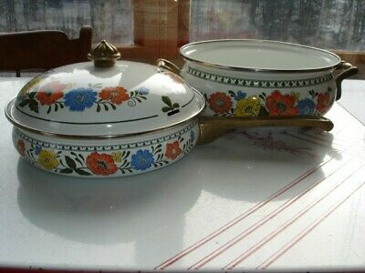 3-Piece Porcelain Enamel Over Steel Saucepan, Skillet and Lid, Floral Pattern.