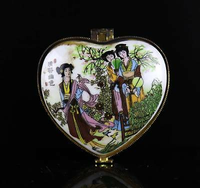 Collect Old Porcelain Paint Belles & Springtime Scenery Delicate Girl Jewel Box