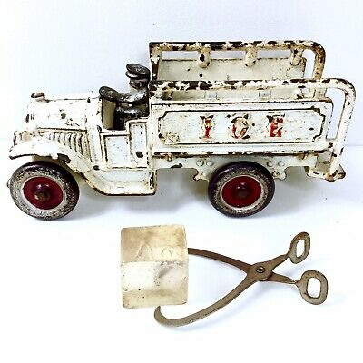 Antique 1920s Kenton Open-Cab Cast Iron White Ice Truck Toy w/Tongs & Ice - NICE