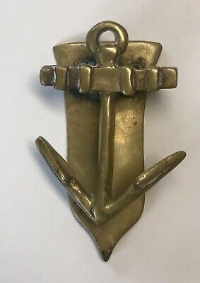 Vintage Antique Small Anchor Solid Cast Brass Door Knocker Nautical England