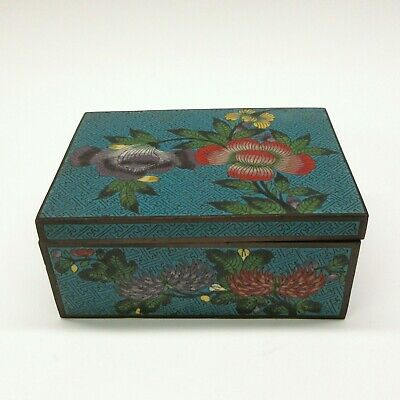 Chinese Republic period cloisonne dresser box blue jigsaw detail and flowers