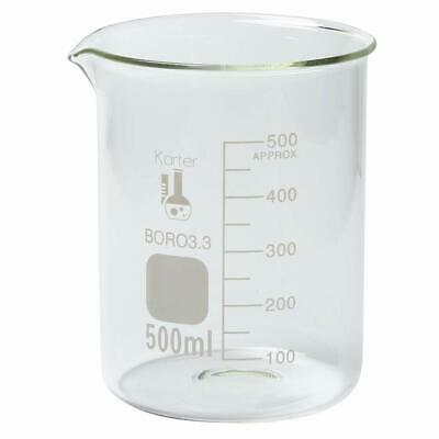 500 ml Low Form Graduated Glass Beaker Karter Scientific 213D26 - Single
