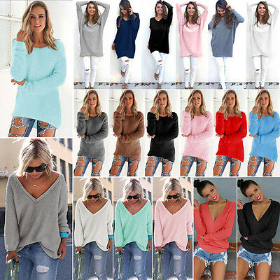 Women Loose Solid Long Sleeve Jumper Knitted Sweater Causal Tunic Top Mini Dress