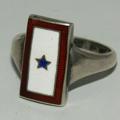 ANTIQUE WW1 Son in Service Ring W. L. S. Co Sterling Ring RARE Enamel Star
