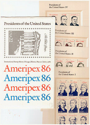 Us $39.60 Face Mint / Nh Postage Lot Of Five Complete Sets Of 22¢ Ameripex 86