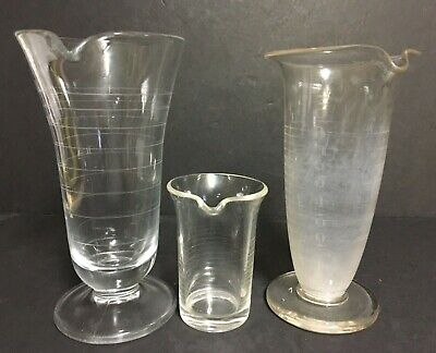 (3) VTG Apothecary Laboratory Pharmacy Glass Graduated Beakers~Etched Marks