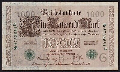 German 1000 Mark 1910 Reichsbanknote P-45b Underprint Letter G Series D