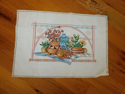 Southwest Pots Cross Stitch Panel COMPLETED Handmade