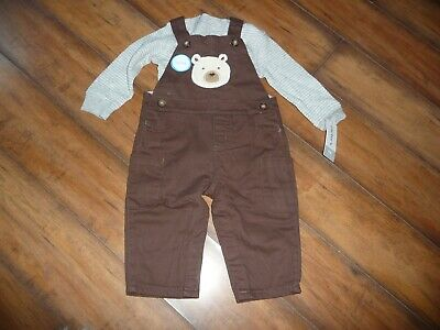 NEW NWT Carters boys size 6 months 2 piece bear overall outfit, warm, lined