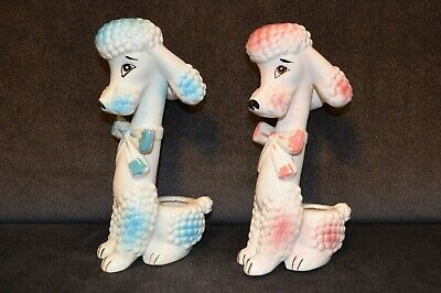 Vintage Ceramic Poodle Figurines Japan