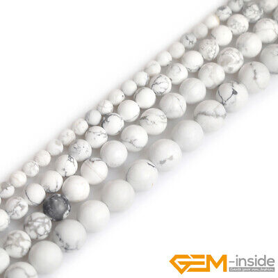 Natural Howlite Jasper Stone White Forested Matt Round Loose Beads for Jewelry