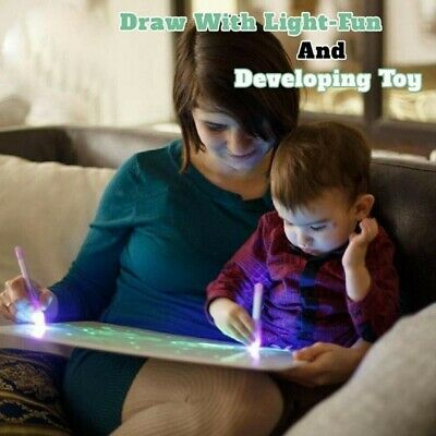 Gift Kids Draw With Light Fun And Developing Toy UV Luminous Pen Drawing Board