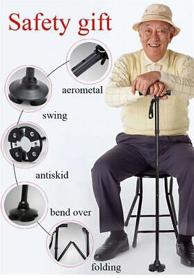 Extension-type Walking Stick Folding Crutch with LED Light & Holder Rest Chair