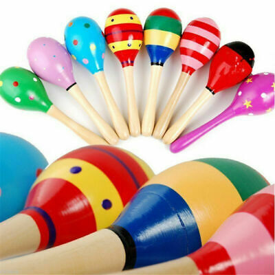 Baby Children Kids Colorful Wooden Maraca Musical Instrument Rattle Shaker Toys