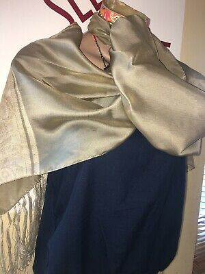 VINTAGE Long Tassel Scarf SATIN/Sheer 60TS MOD RETRO SCOOTER INDIE Gold.