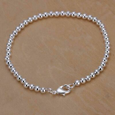 925 Silver Small Round Beaded Chain Bangle Bracelet Women Simple Jewelry