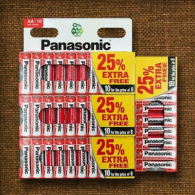 40 x AA Genuine PANASONIC Zinc Carbon Batteries R6 1.5V DOUBLE A Battery