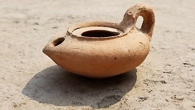 Ancient Byzantine Smooth Terracotta OIL LAMP, Restored, 8th - 11th Cent AD (#3)