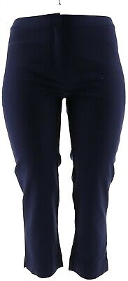 Dennis Basso Sassy Gladden Cool Stretch Woven Crop Pants Navy 24W NEW A278235
