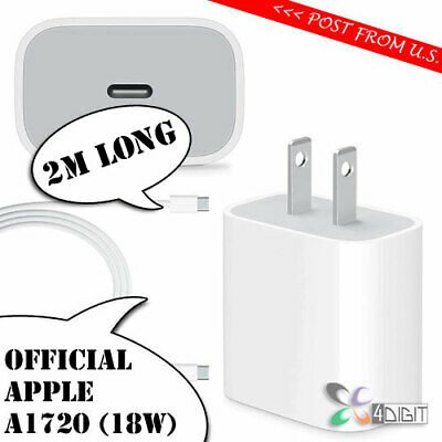 Original Genuine Apple A1720 18W iPad Pro 12.9 2018 AC WALL CHARGER USB-C Cable