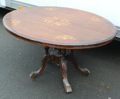 1910 -Oval Mahogany Loo Table with Nice Inlay on Carved  Base.
