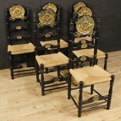 6 Chairs Armchairs Furniture Seats Wood Lacquered Golden Antique Style Dining